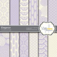 Lavender Digital Paper, Wedding Digital Paper, Elegant Scrapbook Paper Pack, Commercial Use, INSTANT DOWNLOAD