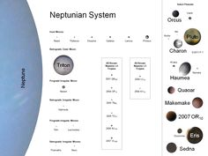 All of Neptune's known moons and trojans to scale by mean volumetric diameter, along with select plutoids and their moons (some objects too small to be visible at this scale; same scale as the other white-background comparisons)