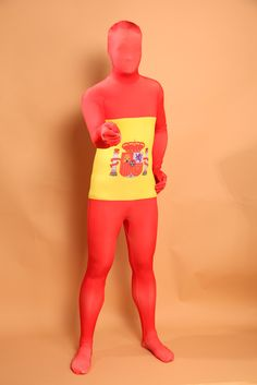 ==> [Free Shipping] Buy Best Hot Wholesale and Retail Full Body Spanish Flag Pattern Red Yellow White Lycra Zentai Men's Suit Online with LOWEST Price   32797327179