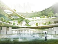 RAW-NYC Architects for Liberland present an algae-powered city for the world's newest sovereign nation in Europe. Green Architecture, Biophilic Architecture, Landscape Architecture, Vertical City, Roofing Options, Eco City, Sustainable City, Residential Roofing, Design Competitions
