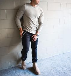 #tanned long sleeve and #chelseaboots  by @marcos.deandrade  [ http://ift.tt/1f8LY65 ] #royalfashionist