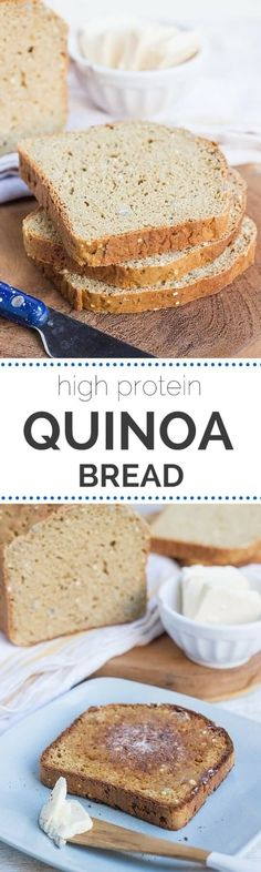 Best gluten-free sandwich bread I've ever had! This High Protein Quinoa Bread Recipe is made with quinoa flour and chickpea flour, so it's really high in protein, while still being light in flavor. It (Baking Bread Recipes) Quinoa Flour Recipes, Bread Recipes, Cooking Recipes, Diet Recipes, Sandwich Recipes, Paleo Flour, Atkins Recipes, Diabetic Recipes, Chicken Recipes