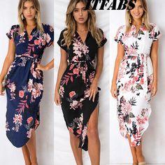03a7473d142 Plus Size Women s Floral Long Maxi Dress Split Cocktail Party Beach  Sundress US