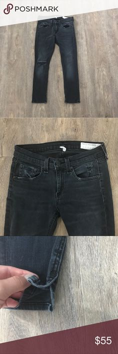 🔴REASONABLE OFFERS ACCEPTED🔴Black jeans Rag & Bone black faded capri/cropped jeans. They have a rip on the right knee and a few on the pockets on the front as well as the right pocket on the back. The jeans have slits at the bottom as seen in photos 3 & 4. They have been worn a bit but no tears or stains. Size 25. Willing to take offers so please offer if you wish:)) rag & bone Jeans Skinny