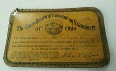 EMBALMING LICENSE ANTIQUE OHIO 1920'S OR 30'S