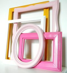 Light Pink Picture Frame Set Wood Photo Frames Mustard Yellow Picture Frame Hot Pink Shabby Chic Home Decor Modern Photo Wall. $62.00, via Etsy.