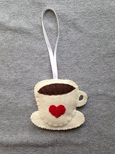 Coffee Cup Christmas Ornament with Red Heart TuscanyCreative Felt Christmas Decorations, Christmas Ornament Crafts, Christmas Sewing, Holiday Crafts, Christmas Diy, Christmas Nativity, Diy Ornaments, Beaded Ornaments, Felt Ornaments Patterns