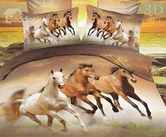 European Style Galloping Horse Reactive Print 4 Piece Poyester Bedding Set
