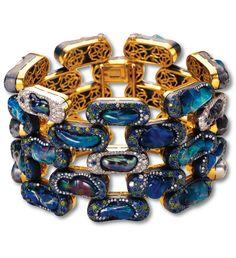 Fire Opal, Natural Penn Shell Pearl,y Tsavorite Garnet, Sapphire and Diamond 'Brick' Bracelet, Nicholas Varney.