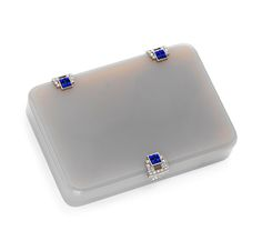 An Art Deco Agate, Lapis Lazuli and Diamond Vanity Case, by Cartier