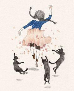 171번째 이미지 Jolies Images, Pretty Drawings, Cute Images, Art Sketchbook, Cute Illustration, Watercolor Art, Watercolor Animals, Le Jolie, Cat Art