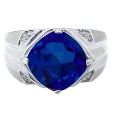 White Gold Men's Large Sapphire and Diamond Ring Gemologica.com offers a unique selection of mens gemstone and birthstone rings crafted in sterling silver and 10K, 14K and 18K yellow, white and rose gold. We have cool styles including wedding and engagement rings, fashion rings, designer rings, simple stone and promise rings. Our complete jewelry collection of gemstone rings for men can be seen here: www.gemologica.com/mens-gemstone-rings-c-28_46_64.html