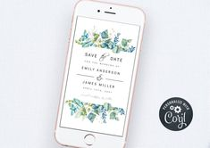 Electronic Save the Date Template, Smartphone Save the Date Invite, iPhone Save the Date Evite, Save the Date Wedding Invitation Save The Date Templates, Wedding Templates, Bachelorette Party Invitations, Bridal Shower Invitations, Electronic Save The Date, Get The Party Started, Digital Invitations, Smartphone, Stationery