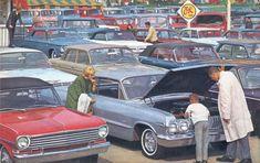 Chevrolet dealership used cars lot, 1965 Used Car Lots, Volkswagen, Chevrolet Dealership, Old School Cars, Car Advertising, Us Cars, Vintage Cars, Vintage Auto, Autos