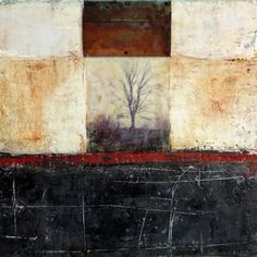 The Path, Holy and Hidden is an encaustic mixed media painting. The artist is Bridgette Guerzon Mills.