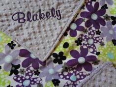 Personalized Baby Girl BlanketPurple & Lime Floral by BabyBeulah,