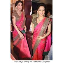 Bollywood Replica Madhuri Dixit Georgette And Raw Silk Saree In Pink Colour 272 - Bollywood Sarees By Ninecolours