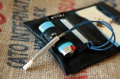 Tobacco Pouch leather made in italy black and western