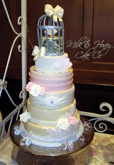 Cake decorated in SugarVeil Icing by Milk and Honey Cake Co. in Phoenix, AZ
