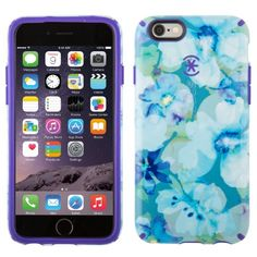 Amazon.com: Speck Products CandyShell Inked Case for iPhone 6/6S - Aqua Floral Blue/UltraViolet Purple: Cell Phones & Accessories