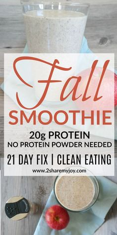 Healthy protein Fall smoothie with Greek yogurt, apple, cinnamon, Chia seeds and water. Includes the 21 day fix container counts and only 250 calories.