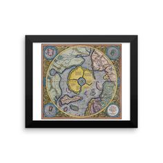 Mercator Hondius Map of the Arctic - Enhanced Matte Poster Paper (FRAMED)