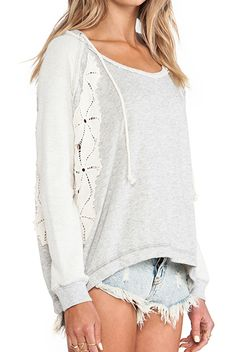 FREE PEOPLE ONLY YOU LACE HOODIE HEATHER GREY $108- CALL SPLASH TO ORDER 314-721-6442