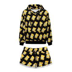 Laid Back Simpson Print Hoodie with Shorts ($51) ❤ liked on Polyvore featuring tops, hoodies, outfit, pajamas, long hoodie, hooded sweatshirt, patterned hoodies, pattern hoodie and print top