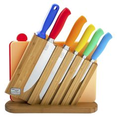 Chicago Cutlery Kinzie Color 9 Piece Knife Block Set $60