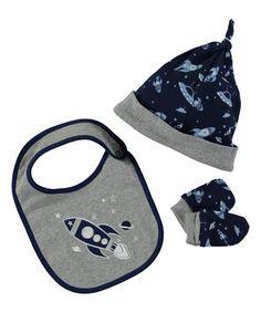 This Gray & Navy Bib Set is perfect! #zulilyfinds