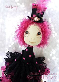 Raspberry Urchin Art Doll by Vicki at Lilliput Loft