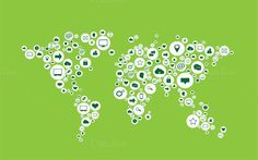 World map with media icons green. Travel Infographics. $7.00