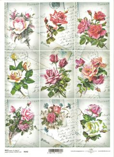 Papel De Arroz Para Decoupage letra de Scrapbooking, Vintage Topper Rosas ITD R542