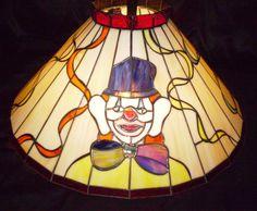 Vtg Stained Glass Clown Wrought Iron Light Fixture Hanging Chandelier Lamp #Applebeesresturant #VintageCarnivalClownStainedGlassLampLight