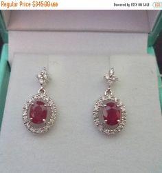 Ruby & Diamond Halo Earrings 14K Drop White Gold Red by Zeppola