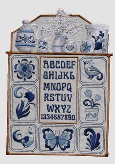 Delft blue embroidered sampler quilt block by Coonstuff on Etsy, $25.00