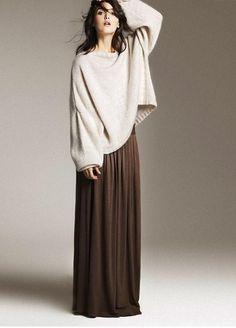 С чем носить длинные юбки осенью и зимой - Зазеркалье