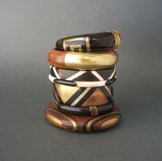 Vintage Geometric Bangle Bracelet Black Horn and Bone