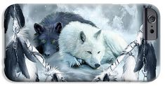 Dream Catcher - Yin Yang Wolf Mates 2 phone case featuring the art of Carol Cavalaris. Art Phone Cases, Iphone Cases, Yin Yang Wolf, Wolf Mates, Dream Catcher, Prints, Animals, Image, Dreamcatchers