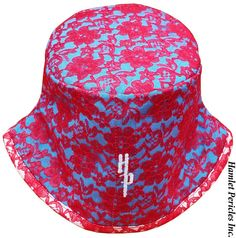 Red Floral Lace Turquoise Women's Bucket Hat, Fashion Hat via Hamlet Pericles, Inc.   #RedLaceHat #RedLace #RedHat #TurquoiseHat #RedAndBlue #RedAndBlueHat #FashionHat #WomensHat #Embroidery #Millinery #Milliner #FashionDesigner #HamletPericles #GiftsForHer #HatForWomen