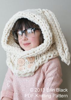 Knitting PATTERN - Chunky Bunny Hood by ErinBlacksDesigns