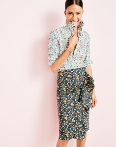 J.Crew women's style hack: the floral hookup. 1. Wear florals on top. 2. Wear florals on the bottom (try a different color background for contrast). 3. Stop and smell the roses. Or the gardenias, tulips, buttercups, daisies…