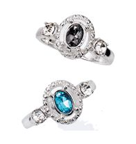 Lyonetta Ring~ $7.99 On Sale--Rhinestones and faux stones set in textured silvertone. Sizes: 6, 8, 10 blue and grey
