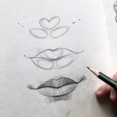 sketch lips step by step \ sketch lips ` sketch lips step by step ` sketch lips mouths ` sketch lips kiss ` sketch lipstick ` sketch lips cartoon ` sketch lips anime ` sketch lips easy Art Drawings Sketches Simple, Pencil Art Drawings, Realistic Drawings, Easy Drawings, Pencil Sketching, Lips Sketch, Eyebrows Sketch, Drawing Eyebrows, Drawing Faces