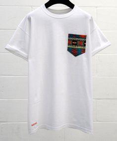 Men's Aztec Pattern White Pocket TShirt Men's T by HeartLabelTees, £9.95