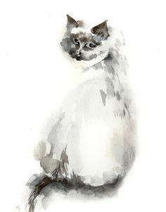 Cat Watercolor Print, Watercolor Painting Art Print, Grey Cat