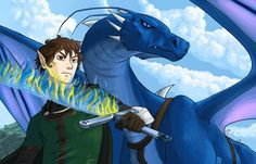 Twitter (June 20): Christopher Paolini: Fan art #1 — Let's kick this off with a kickass painting of Eragon and Saphira: pic.twitter.com/EvP3gCT6Ww