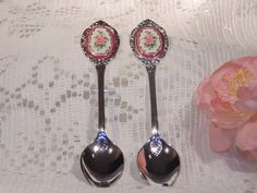 Silver Plated Pair Of Vintage Spoons With by SandiesGiftCorner, $14.95