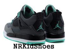 Nike Air Jordans 4 Retro Kids Shoes Black Grey Green 63352dd0f