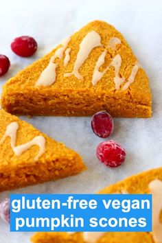 These Gluten-Free Vegan Pumpkin Scones are moist and fluffy fragrantly spiced and perfectly rich. They're great for dessert breakfast or a snack and perfect for autumn/fall Thanksgiving and Christmas! Breakfast Scones, Pumpkin Breakfast, Breakfast Dessert, Vegan Breakfast, Breakfast Recipes, Dairy Free Eggs, Egg Free, Vegan Sweets, Vegan Desserts